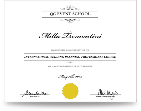 event and wedding planning certification