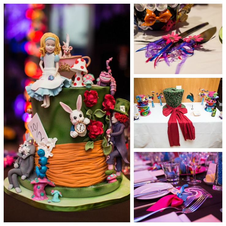 Jess Adlington Alice in Wonderland Themed Wedding Collage