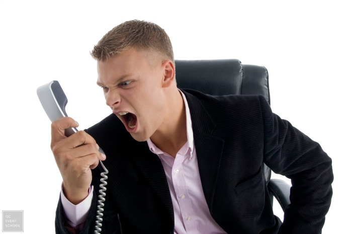 Event Planner Customer Yelling into Phone