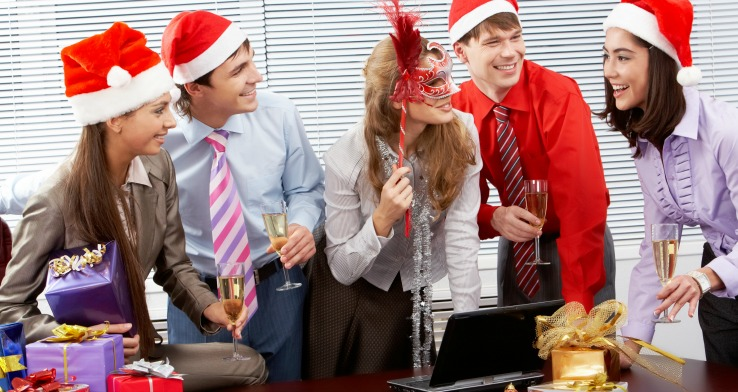 Group of workers bonding at holiday party