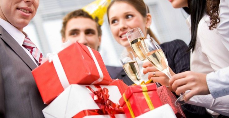 Presents and Champagne at Office Holiday Party