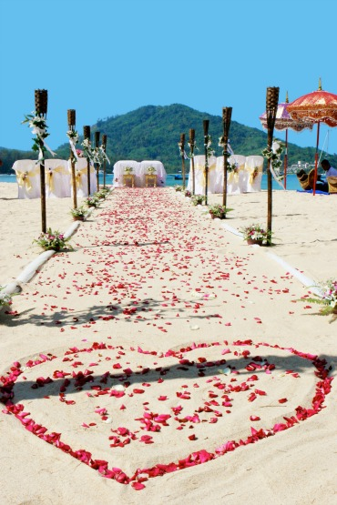 Sandy Wedding Aisle with Rose Petals
