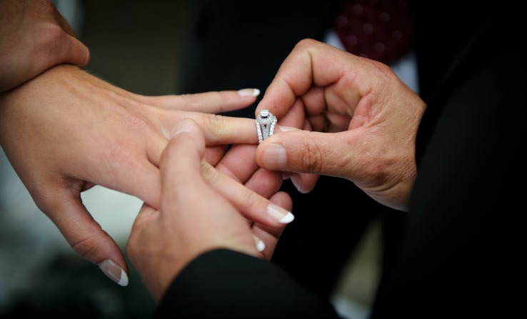 Wedding Ring Exchange during a wedding ceremony