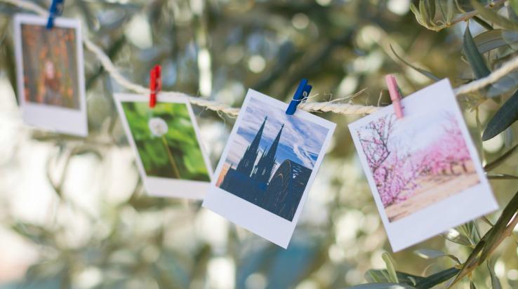 Clothesline hanging photos
