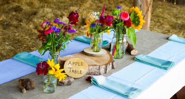 DIY Barn wedding reception centerpiece
