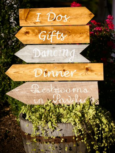 Backyard wedding sign