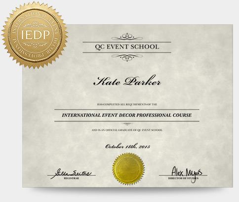 Event decor course qc event school for Certified professional building designer