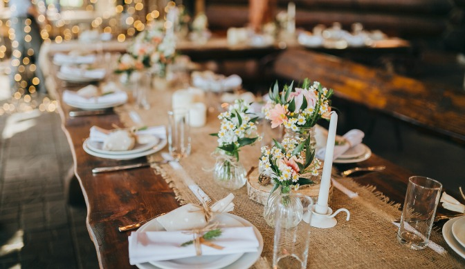 Detailed wedding table decor