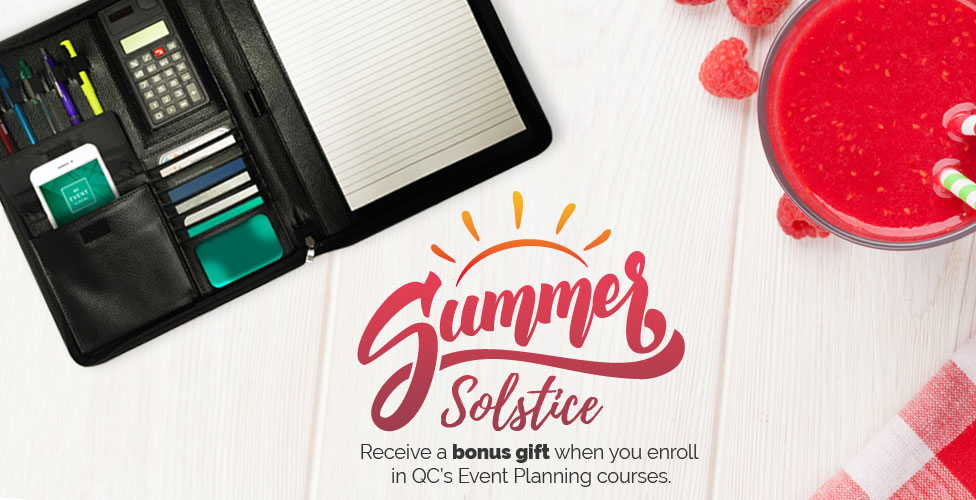 Summer Solstice Promotion Free Leather Portfolio- QC Event Planning