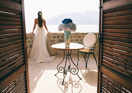 Bride Overlooking View