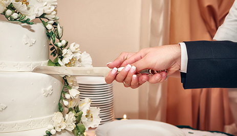 Newly Wed Couple Cutting Wedding Cake