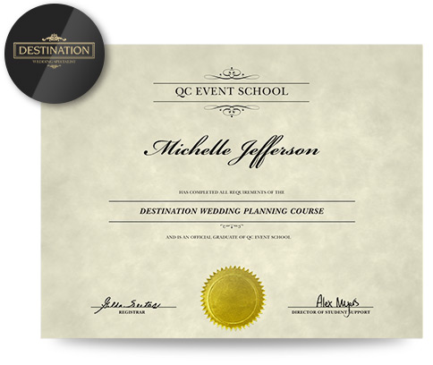Online Destination Wedding Planning Specialization certificate