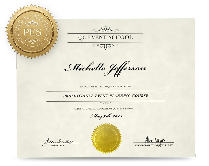 Promotional Event Planning Certificate